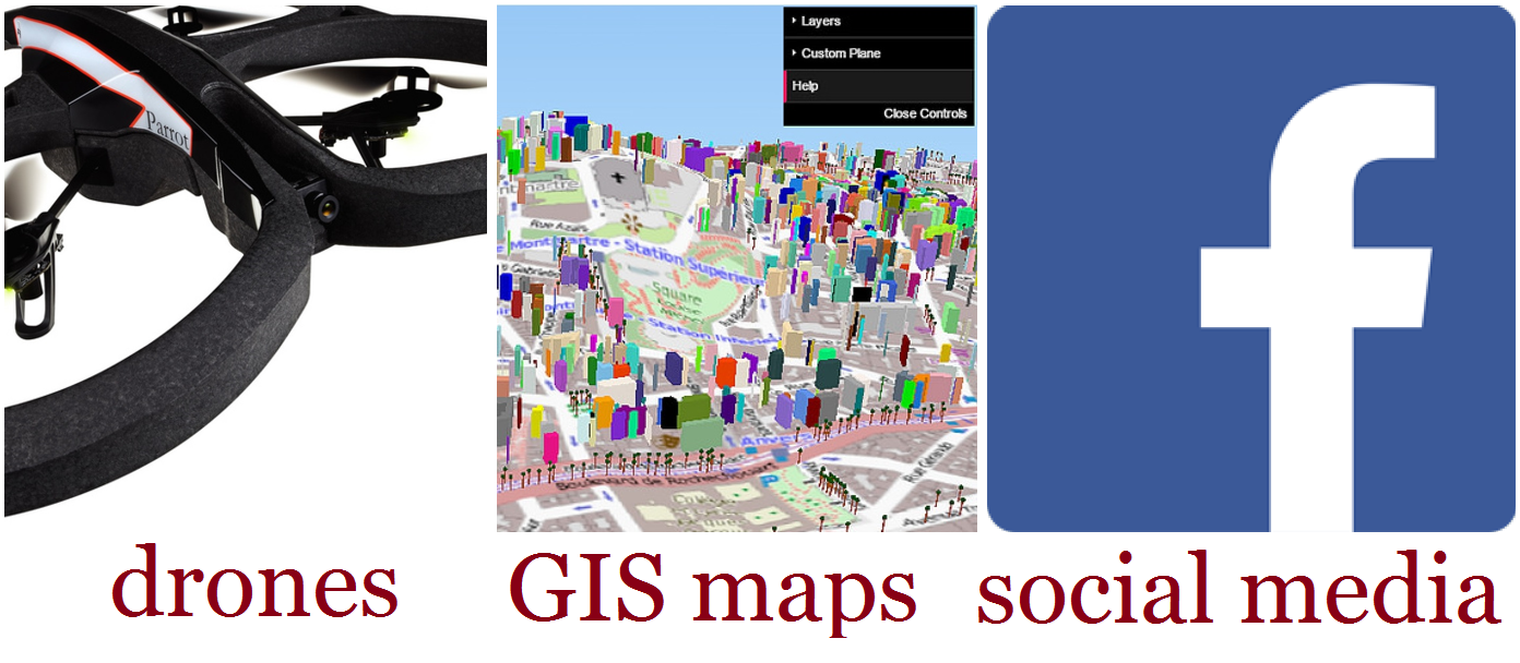 collage of GIS, drone, and social media