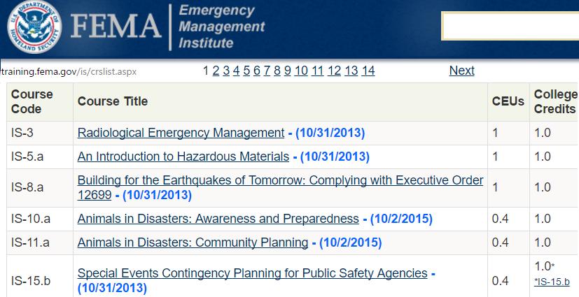 screenshot of E.M.I. courses