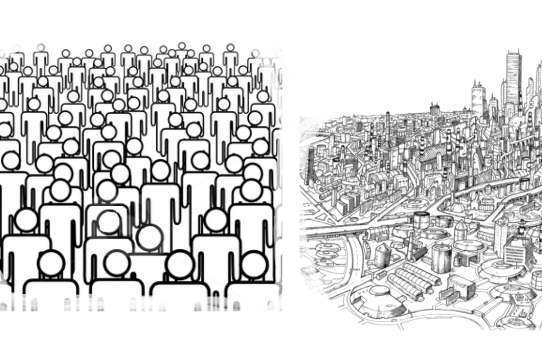 collage of stick-figures to symbolize individual, group, and whole society