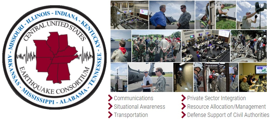 collage with photos of full-scale exercise 2014, as well as logo